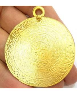 Colgante medallón 52mm paso 4mm, baño de oro 22 kilates