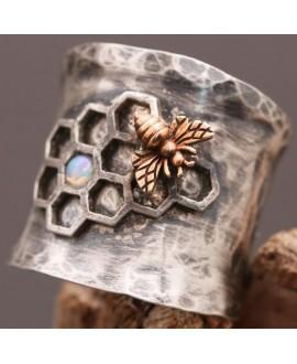 Anillo abeja, plata de ley y circonita, talla 11