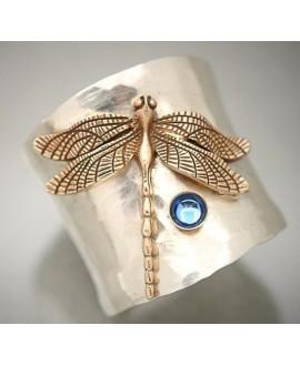 Anillo libélula, plata de ley y circonita, talla 11