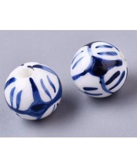 Cuentas de porcelana esmaltada de forma antigua 14mm paso 2mm, precio por unidad