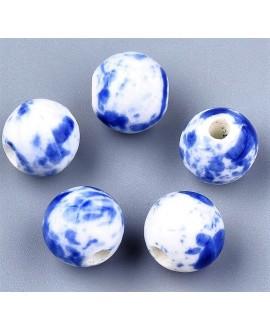 Cuentas de porcelana esmaltada de forma antigua 10mm paso 2mm, precio por 10 unidades