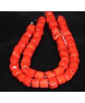 Coral barril irregular 17/20x15mm paso 1mm, precio por ristra de 42cm