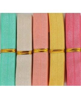 Cinta elástica, mezcla de 5 colores 15x3mm, 1 metro por color