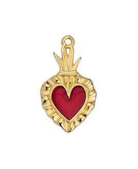 Colgante corazón mexicano 15,4 x 27mm, zamak baño de oro