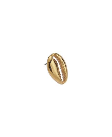 Pendiente concha cauri 18mm con cierre en titanio, zamak baño de oro (par)