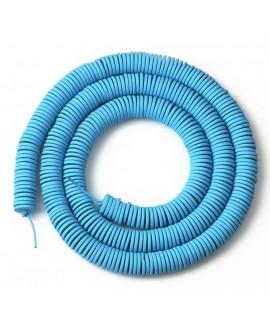 Cuentas redondas planas de hematita Blue 6mm paso 1mm, precio por ristra de 40cm