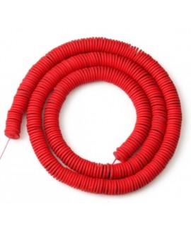Cuentas redondas planas de hematita Red 6mm paso 1mm, precio por ristra de 40cm