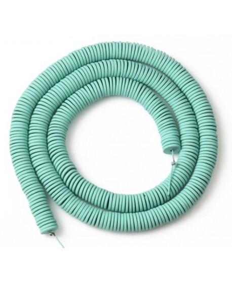 Cuentas redondas planas de hematita Mint Green 6mm paso 1mm, precio por ristra de 40cm