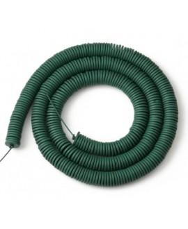 Cuentas redondas planas de hematita Dark Green 6mm paso 1mm, precio por ristra de 40cm