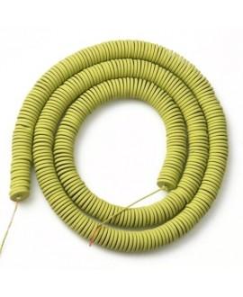 Cuentas redondas planas de hematita pistacho 6mm paso 1mm, precio por ristra de 40cm