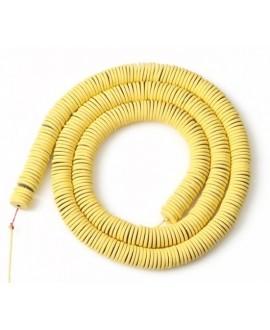 Cuentas redondas planas de hematita Yellow 6mm paso 1mm, precio por ristra de 40cm