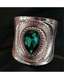 Brazalete metal plateado con cristal