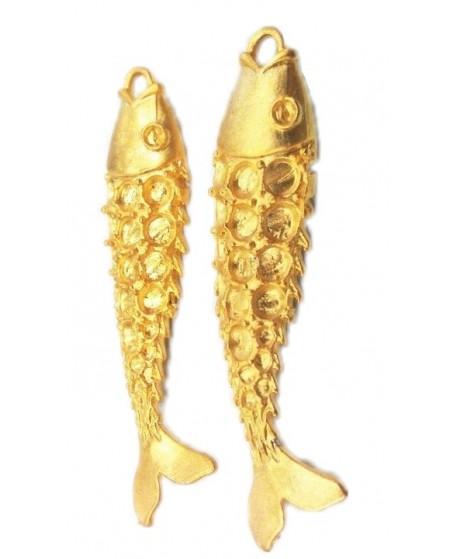Colgante pez 65x17mm paso 1,5mm, baño de oro 22 kilates