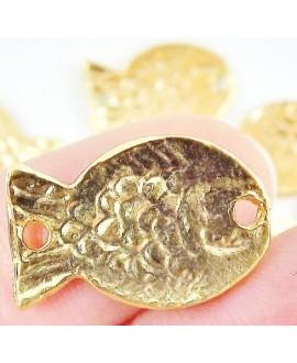 Colgante/entre-pieza pez 19x13mm paso 1mm, baño de oro 22 kilates (unidad)