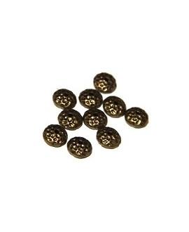 Cuenta punteada chata 10mm, bronce, paso 1mm, precio por 5 unidades