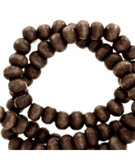 Bola madera marrón café 10mm, paso 4mm, precio por ristra de 40 cm ( 40 cuentas)
