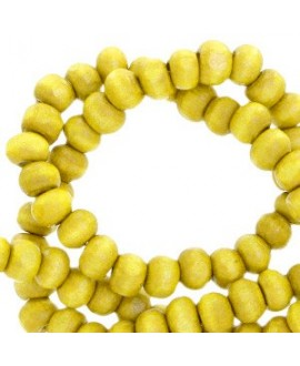 Bola madera amarillo limón 8mm, paso 3,3mm, precio por ristra de 40 cm ( 48 cuentas)