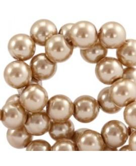 Perla de cristal nacarada 10mm marrón claro, precio por tira de 40cm, 45 piezas aprox