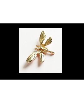 Entre-pieza/colgante libélula  latón baño de oro 14x26mm paso 1,5mm