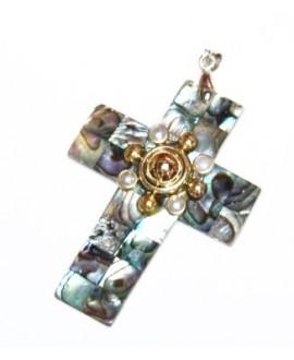 Colgante cruz de abulón 53x40mm, paso 2mm