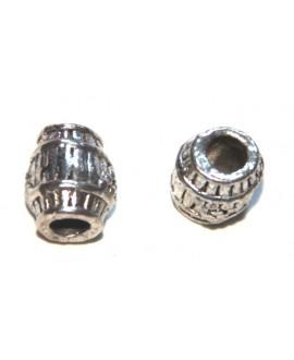 Entre-pieza barril labrado metal 10x8mm, paso 4mm, precio por 5 unidades