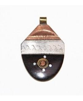 Tuareg ébano/plata/cobre/bronce 48x32mm