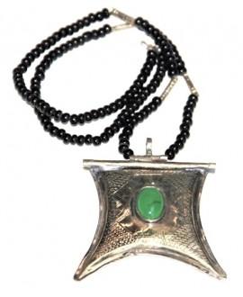 Collar talismán tuareg con piedra semi preciosa, 50x55mm, largo 22cm