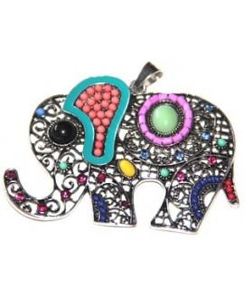 Colgante elefante metal y esmalte, 48x70mm