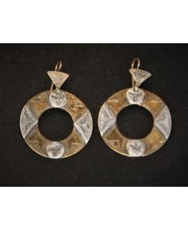 Pendientes Tuareg de bronce/plata - marroquí, largo 50mm