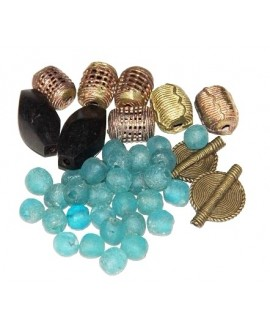 Mix- África cuentas de vidrio reciclado, bronce y ébano