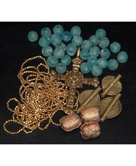 Mix- África cuentas de vidrio reciclado, bronce y cruz etíope