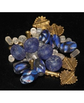Mix- África cuentas de vidrio reciclado, bronce y VENETIAN EYE BEAD