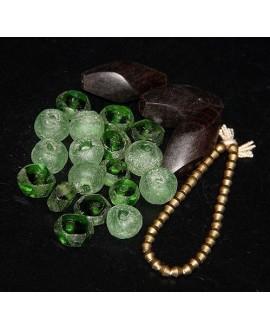 Mix- África cuentas de vidrio reciclado, ébano y bronce