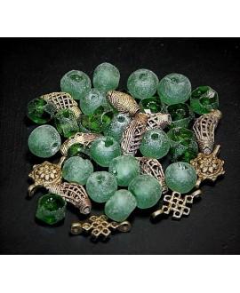Mix- África cuentas de vidrio reciclado y bronce