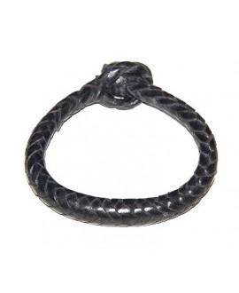 Pulsera cuero tejido de  Malí 17 cm, negro