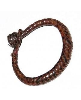 Pulsera cuero tejido de  Malí 16 cm, marrón