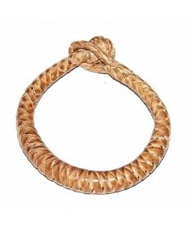 Pulsera cuero tejido de  Malí 19-20 cm, crema
