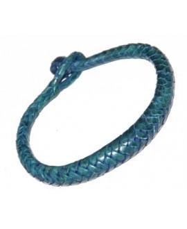 Pulsera cuero tejido de  Malí 19-20 cm, azul
