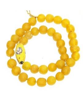 Vidrio reciclado amarillo con cuenta face old bead , precio por ristra, 10mm, paso 3mm.