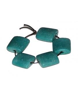 """Vidrio reciclado """"azulejos"""" turquesa 25x25x10mm paso 3mm, precio por 5 cuentas"""
