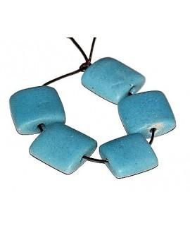 """Vidrio reciclado """"azulejos"""" azul claro 25x25x10mm paso 3mm, precio por 5 cuentas"""