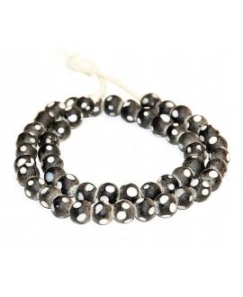 Vidrio reciclado Black Skunk Beads 8mm paso 3mm, precio por ristra
