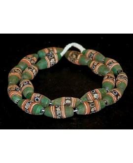 Antiguas cuentas Face beads verdes  35x15mm paso 3mm, precio por ristra 20 cuentas