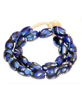 Vidrio reciclado Face beads  20x12mm paso 3mm, precio por ristra 27 cuentas aprox