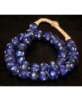 Vidrio reciclado Face beads  12mm paso 3mm, precio por ristra 37 cuentas aprox