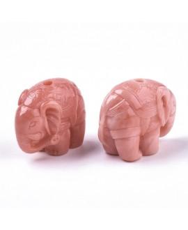 Cuenta/entre-pieza coral sintético elefante, rosa, 17.5x21x11mm paso 1,8mm,  unidad