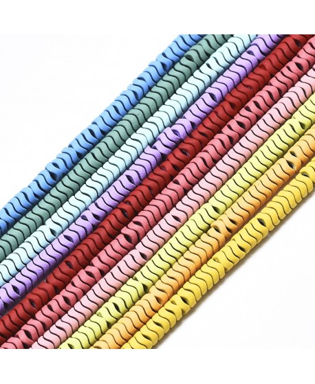 Cuentas redondas onduladas de hematita 3x1mm, paso 0,5mm, precio por ristra de 41 cm