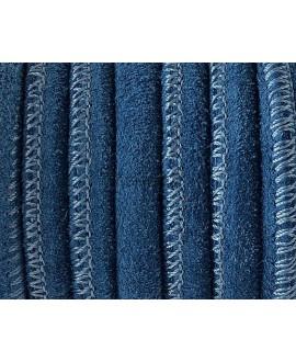 Cordón ante redondo 6mm azul calidad superior  precio por 50cm