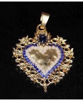 Colgante corazón 70x55mm, metal oro mate