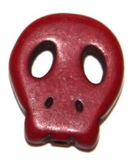 Howlita calaverita roja 15x12mm, paso 1mm